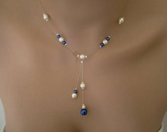 Necklace is a delicate refined Original ivory (or white) Royal Blue / Navy/dark/night p dress of bride/wedding/party/Christmas/holiday glass beads (cheap)