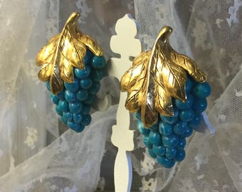 Really Big Signed Diva Blue Grape Bunch Leaf Earrings Clip On 1980's 1990's Statement Jewelry Lucite Beads Gold Tone Leaves Eye Catching