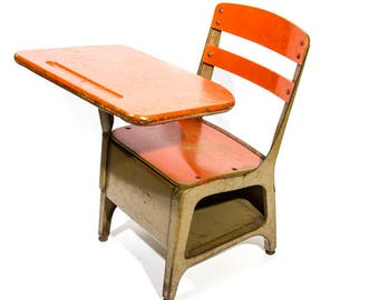 school desk. Vintage School Desk With Chair Industrial Seating Childs Seat Mid Century House Orange Wood