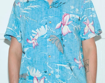 Vintage Blue and Pink Hawaiian Shirt,P&W Hawaii Shirt,Faded Hawaiian Shirt,Luau Aloha Top,Large Hawaiian Shirt,Hawaiian Flowers, Palm Trees