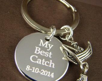 Personalized Wedding Gift Key Ring, My Best Catch Custom Key Ring, Gift for Groom, Gift for Bride, Unique Wedding Gift Ideas