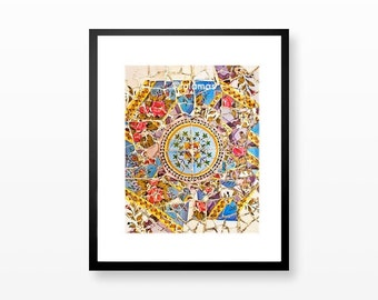Colorful pattern, Park Guell, Spanish tile, Barcelona Art, Gaudi BCN photo, rustic wall decor, mosaic tiles
