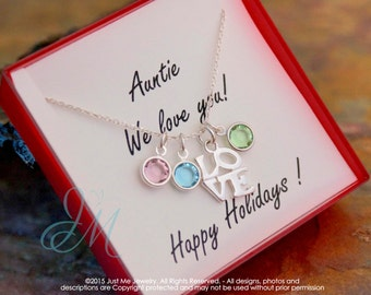 Auntie Necklace - Gift Idea for Auntie - Sterling Silver Birhtstone neckalce - Auntie we love you (Three kids)