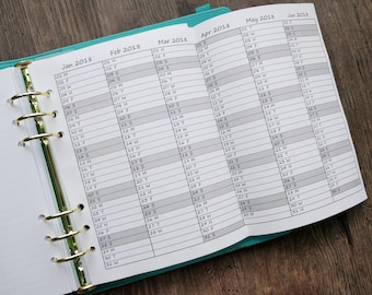 Printed: 2018 - 2019 Dated Year at a Glance Calendar on 4 Pages Printable Planner on 100 gsm paper Printed to fit A5 Planner