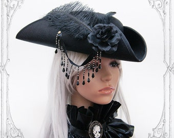Goth Pirate Tricorn ( steampunk, black, hat )