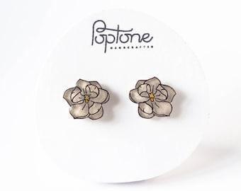 Magnolia Earrings, White Flower Stud Earrings, Magnolias, Floral Bridal Earrings, flower studs