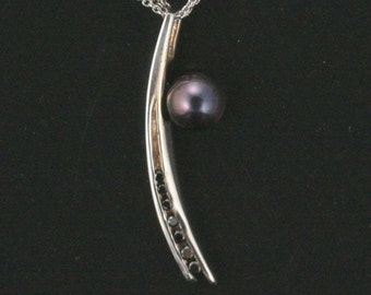 Shooting Star Pendant - OOAK - 14K White Gold - Features 7 Round Black Diamonds - Black Akoya Salt Water Pearl - White Gold Cable Chain