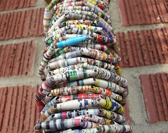 ONE FOOT of Upcycled paper bead garland, wedding garland, paper garland, rolled paper beads, tree garland, christmas garland, paper beads
