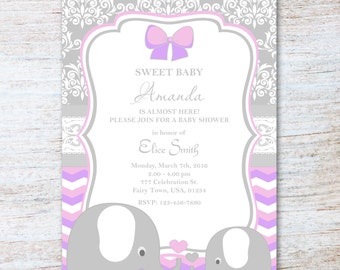 Baby Shower Girl Elephant Soft Pink And Grey Damask And Chevron Printable Personalized Cute Invitation