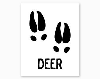 DEER WALL ART, Deer Tracks, Deer Art Printable, Woodland Nursery, Rustic Nursery, Rustic Decor, Instant Download, Nursery Printable, Diy art