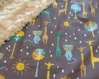 Baby Animal Minky Blanket-Brown, Minky Blanket, Lions, Giraffes, Trees, Sun, Gender Neutral, Baby Shower Gift, New Baby Gift