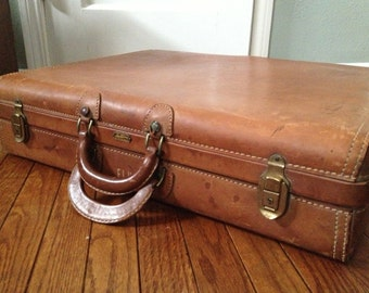 1930s Hartmann Leather Suitcase, Saddle Leather Luggage, Mid Century Travel Bag, Hard Case