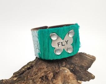 Butterfly Jewelry, Butterfly Bracelet, Blue Jewelry, Blue Bracelet, Fly Jewelry, Leather Belt Bracelet, Repurposed Jewelry, Bohemian Cuff