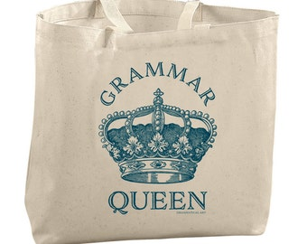 Grammar Queen Tote Bags for Teachers Gifts for Editors Picks Gifts for Sister Gifts for Mom Gifts for Grandma Gifts for Friends Gifts Totes