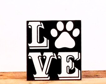 Paw Print Wood Sign, Animal Lover Gift, Paw Print Art On Wood, 8 x 7.25 Inches, Dog Lover Gift Idea, Dog Wood Signs With Sayings