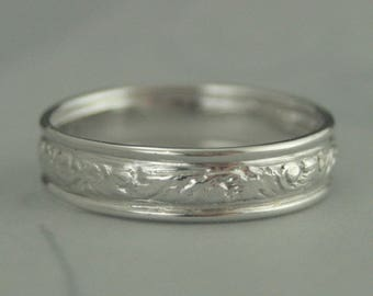14K White Gold Wedding Band~Men's Gold Band~Women's Gold Band~White Gold Ring~Vintage Style Wedding Ring~Antique Style Band~14W Baroque Wide