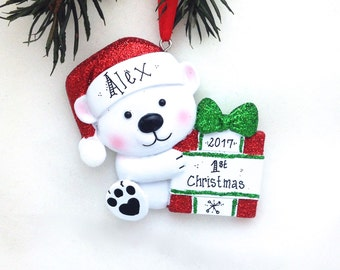 Little Bear Personalized Christmas Ornament / Baby's 1st / Baby's First Christmas / Toddler Ornament / Child Ornament / Red and Green
