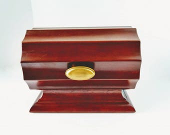 Bombay Company Wood Mahogany Valet Document Box, Black Lining, jewelry organizer Vintage Table Top Keepsake Box cylinder display craft show