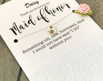 Maid of honor personalized jewelry, Bridesmaid monogram, Maid of honor NECKLACE, Bridesmaid THANK YOU gift, Bridesmaid wedding gift, B29