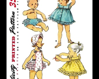 PLAYSUIT Ruffled Romper Bonnet Sewing Pattern SIMPLICITY #1635 Kids Child Girls Beach Sunsuit Play Suit *REPRODUCTION* Size -1- or -3-
