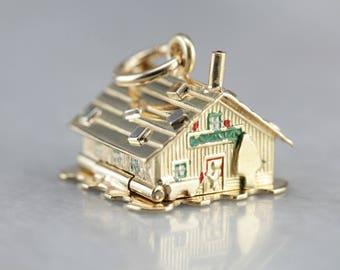 Vintage Enamel Charm, Gold House Charm, Charm Necklace, Unique Charm THW0E3-D