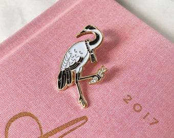 Japanese Crane- Soft Enamel Lapel Pin Bird Collectible Art Jewelry