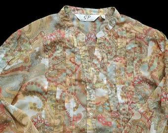 Vintage Gira Puccino Polyester Blouse Paisley Size 40