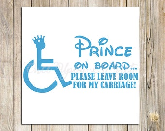 Prince on Board Handicap Decal, Handicap Sticker, Wheelchair Decal, Wheelchair Car Decal, Car Decals, Handicap Car Decal, Handicap Symbol