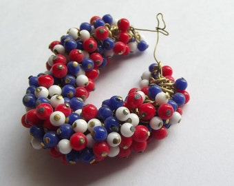 Vintage red white blue bead clusters