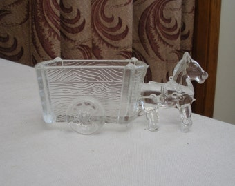 Vintage Glass Donkey and Cart