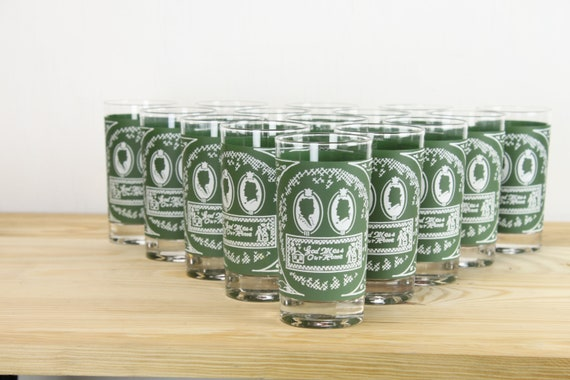 Vintage - Mid Century - Tumbler Glasses - Set / 15 - Green/White Cottage Pattern - God Bless Our Home - His/Hers - 1960's-1970's - Glassware
