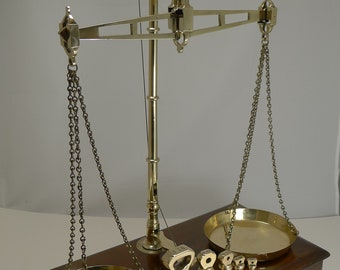 Large Boxed Antique English Commodity Scales In Mahogany & Brass c.1880