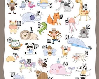 Alphabet Clipart - Animal Clipart A-Z, instant download, PNG,JPEG  file - 300 dpi