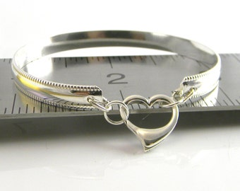 Made To Order Sleek Chic number 2 Sterling Silver  Slave Bracelet with Sterling Silver Heart Clasp