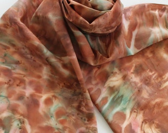 Hand Painted Silk Scarf - Handpainted Scarves Copper Burnt Orange Rust Cinnamon Green Blue Turquoise Autumn Fall Southwest Patina