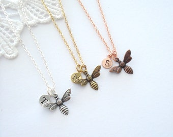 Little Bee Necklace, Choose Silver, Gold or Rose Gold, Custom Necklace, Birthstone Necklace, Layering Necklace, Gift for Her