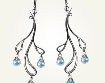Teardrop Earrings, Sterling Silver, Handcrafted, Blue Topaz, Gemstone, Wedding, Branch, Elegant. HAMA RIKYU EARRINGS with Blue Topaz.
