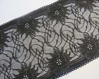 2m high-quality black elastic lace 17cm wide flowers