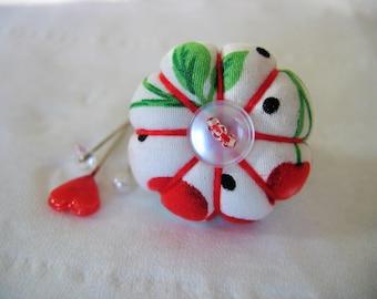 Pin Cushion Ring / Pin Cushion /Vintage Style Pincushion Ring / red cherries Pincushion / Red and white pincushion / Retro Pincushion