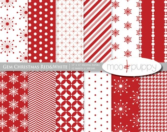 Christmas Digital Scrapbook Paper Pack - Gem Christmas Red&White  -- INSTANT DOWNLOAD