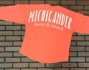 ON SALE: coral spirit jersey - ladies top - spirit jersey - michigander - Michigan - born and raised