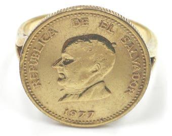 Ring Republica De La Salvador 1977, 25, Silver 925 Mounting, 4.8 Grams, Size 9.25