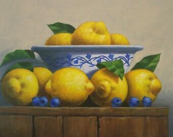 Painting of Lemons, Lemons Painting, Lemons Still Life, Small Painting of Lemons, Painting of Fruit,  Fruit Painting, Original Painting