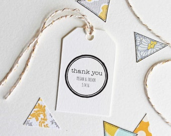 Wedding favor thank you stamp, customize with names and date, self inking or rubber