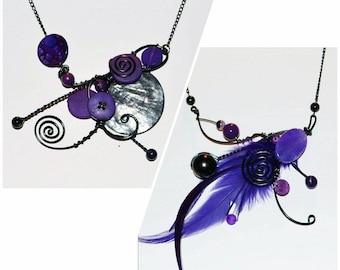 collier sculptural avec plumes ou sans plume  /sculptural necklace