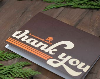 The BIGFOOT Sasquatch Greeting Cards Thank You Cards Business Pacific Northwest Mountains Forest Retro Nature Gratitude Outdoor Stationery