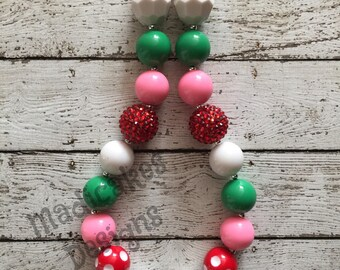 Strawberry Shortcake Inspired Chunky Bubblegum Necklace Light Pink Green Red White with Strawberry Pendant