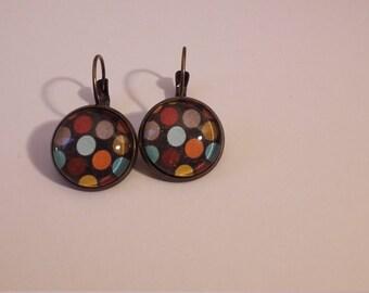Colorful polka dots earrings