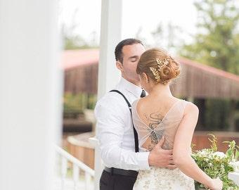 Gold Leaf Hair Combs Gold Branch Bridal Headpiece Woodland Wedding Bridal Hair Gold Fern Hair Pins Garden Wedding Romantic Bridal Hair Comb