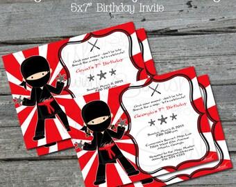 Ninja Birthday Invitation   Ninja Party Invite   Digital Download   Boys or Girls   Printable   Red White Party   digital invite